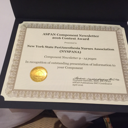 NYSPANA Wins ASPAN's Component Newsletter 2016 Award