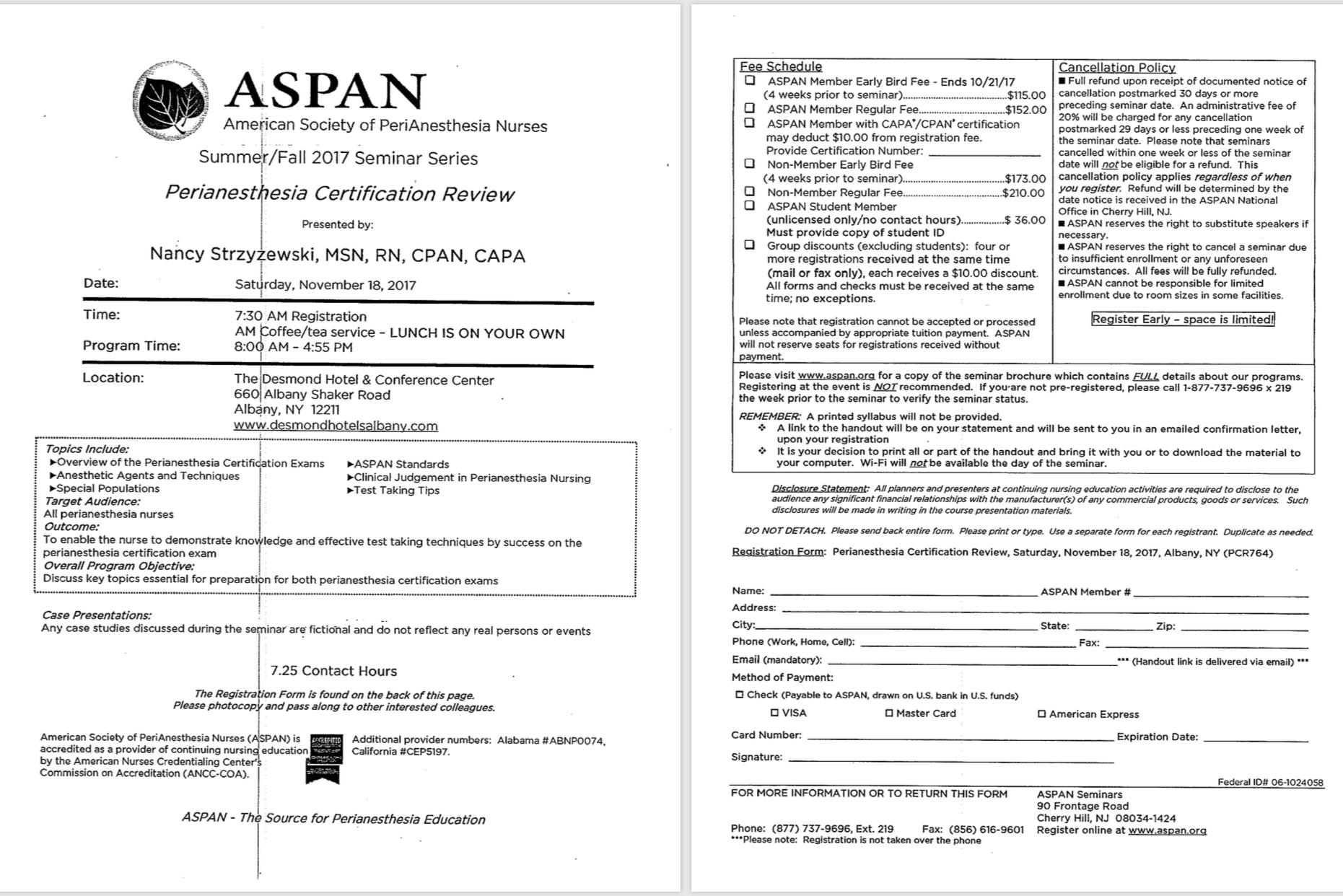 Nyspana Aspan Perianesthesia Certification Review